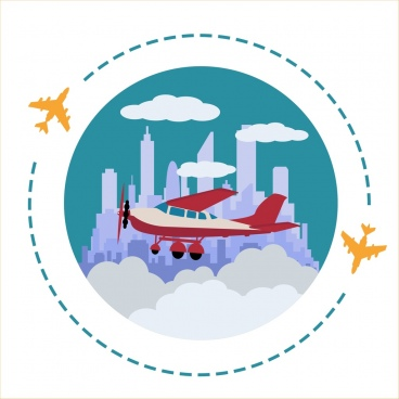 airplane background retro style circle flight design