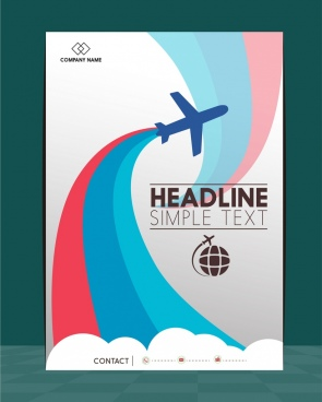 airplane brochure silhouette design colorful curves decoration