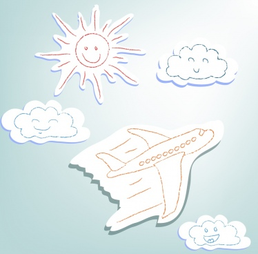 airplane flying background cute hand drawn style sketch