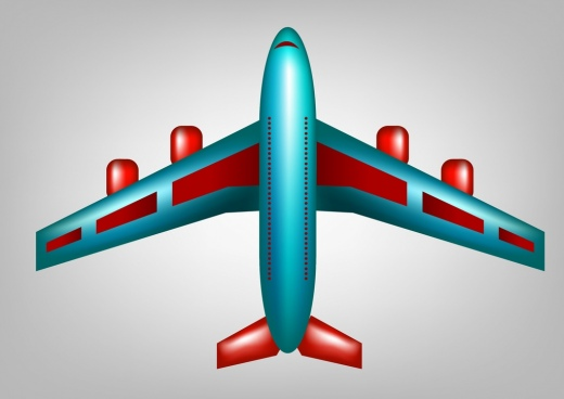 airplane icon blue red design cartoon style sketch