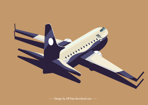 airplane icon modern 3d design