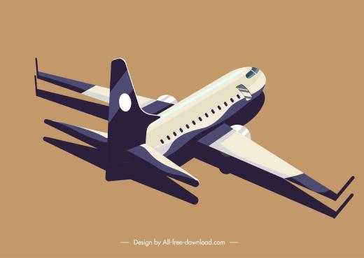 airplane icon modern 3d design