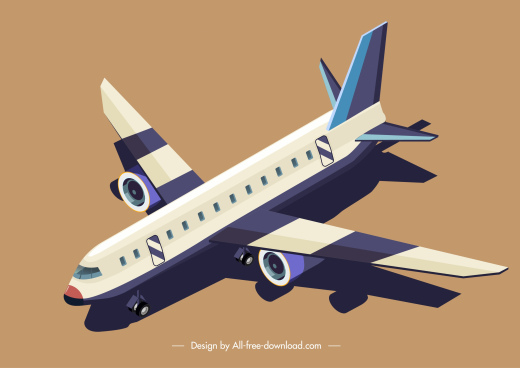 airplane icon modern design 3d sketch