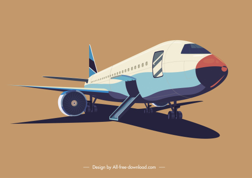 airplane icon modern design colored 3d sketch