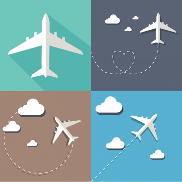 airplane icon sketches collection flying route decoration