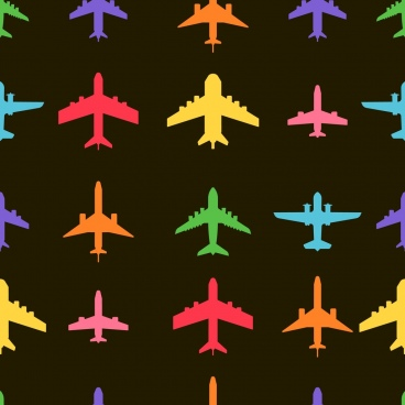 airplane icons collection colorful silhouette design