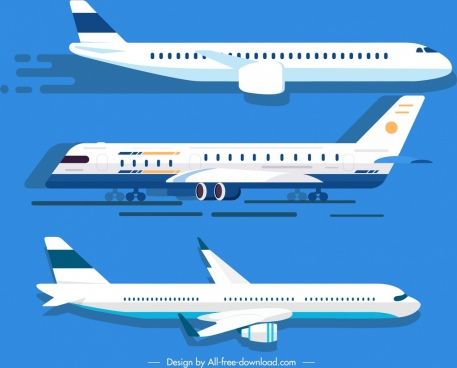 airplane icons white modern design