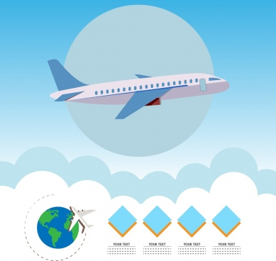 airplane infographic design colored symbols geometry ornament
