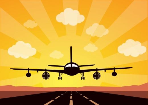 airplane landing on runway theme colorful sketch