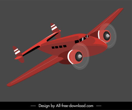 airplane model icon dynamic flying design 3d sketch