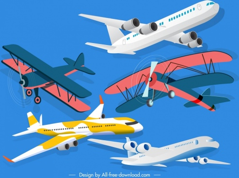 airplane models icons contemporary classical 3d sketch
