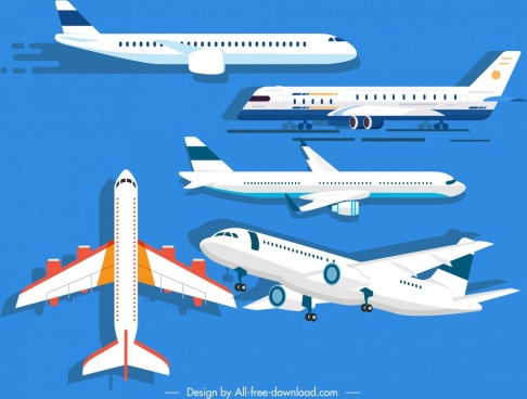 airplane models icons modern design