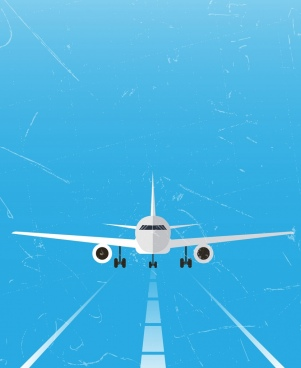airplane on runway theme grunge style 3d design