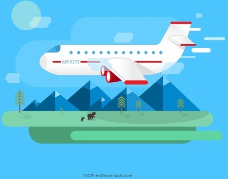 airplane with travel vector
