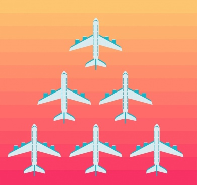 airplanes formation sketch colored flat design
