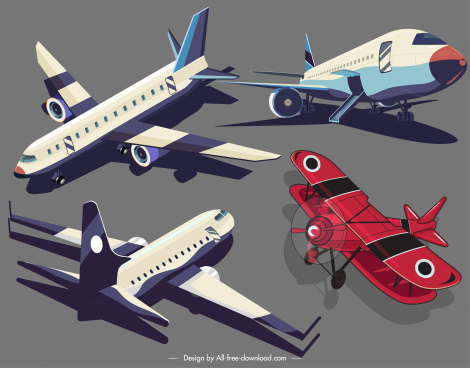 airplanes icons modern classic models sketch