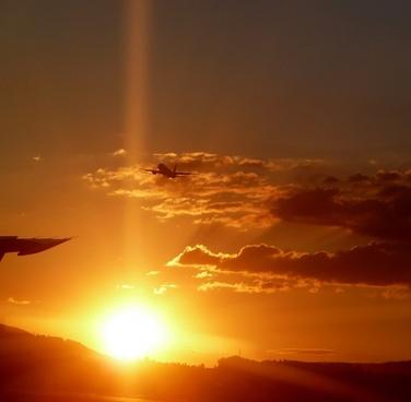 airport aircraft sunset