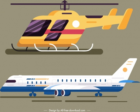 airway design elements helicopter airplane icons modern design