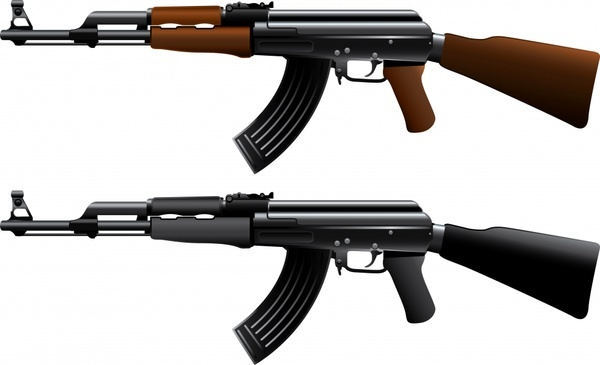 ak47 machine guns vector