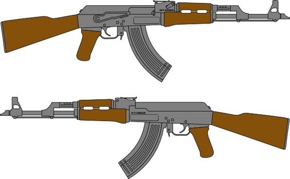 Ak Rifle Vector Drawing clip art