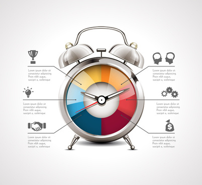 alarm clock infographics vector