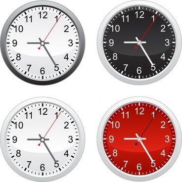 clock icons templates classical circle design