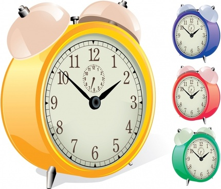 alarm clock icons modern colored 3d design