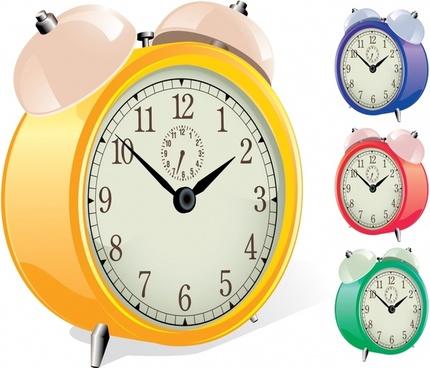 alarm clock icons modern colored 3d design