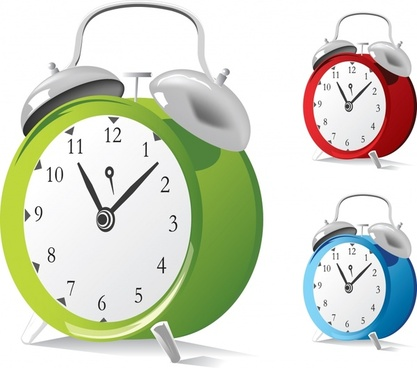 alarm clock icons shiny colored 3d design