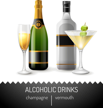 alcoholic drinks vector design elements