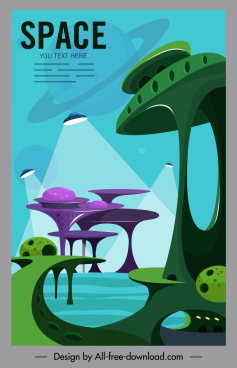 alien banner ufo planet modern architecture decor