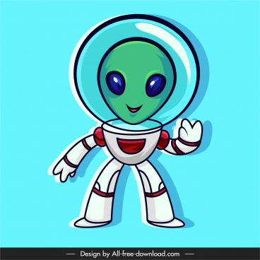 alien icon astronaut costume sketch cute cartoon character