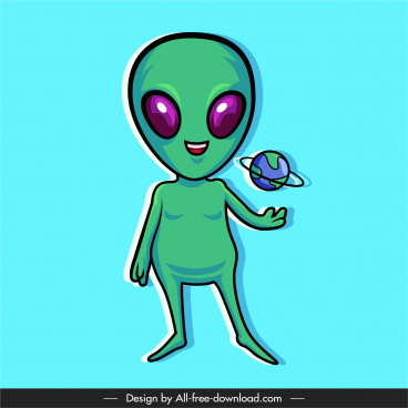 alien icon funny cartoon character sketch