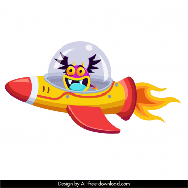 alien icon spaceship sketch funny cartoon character