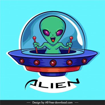 alien icon ufo control sketch cartoon character