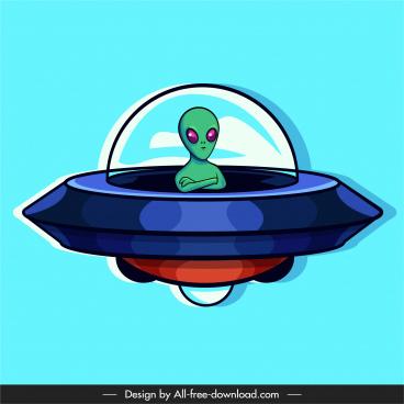 alien icon ufo sketch cartoon design