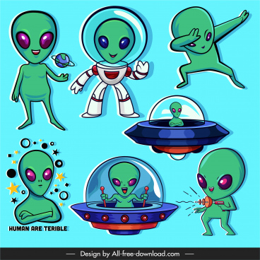 alien icons funny cartoon characters sketch