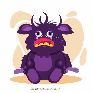 alien monster icon crying sketch cute cartoon character