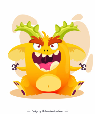 alien monster icon funny cartoon character colorful design