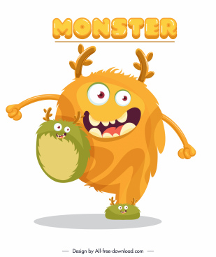 alien monster icon funny colored cartoon sketch