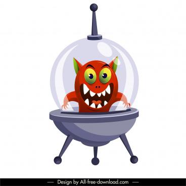 alien spacecraft icon funny cartoon character sketch
