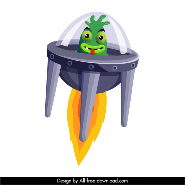alien spacecraft icon motion cartoon sketch