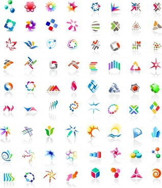 decor logo icons collection colorful symbols shapes