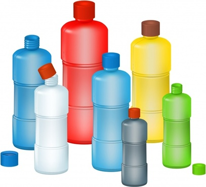 plastic bottles background colorful modern 3d design