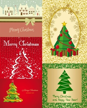 all kinds of cartoon christmas tree vector