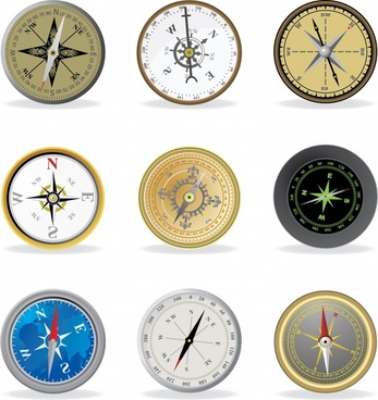 navigation compass icons colored flat sketch