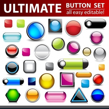 buttons templates collection shiny colorful modern shapes