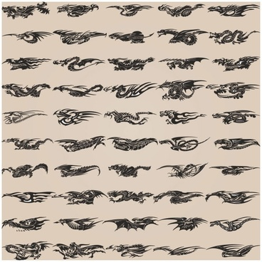 all kinds of dragon element patterns 01 vector