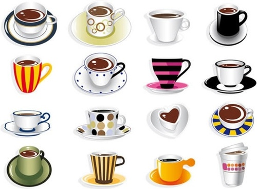 all kinds of fine coffee cup vector