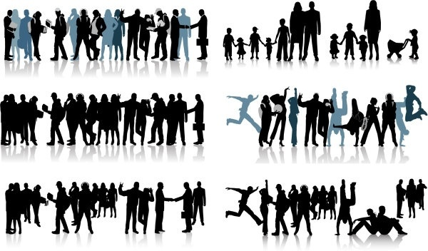 all kinds of people black and white silhouette vector